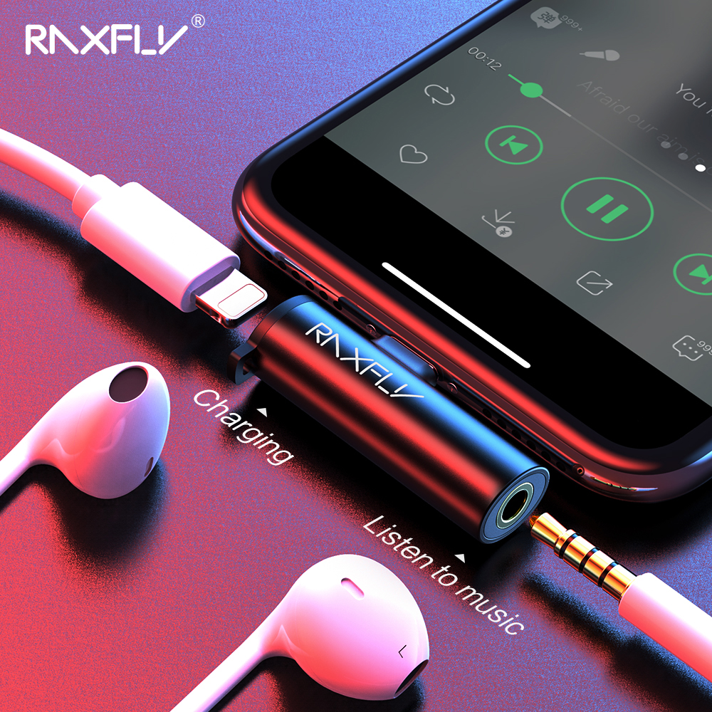 RAXFLY 2 In 1 Audio Adapter For IPhone 7 8 Plus X XS Max XR Splitter Converter To 3.5mm Jack Earphone Headphone Connector Charge