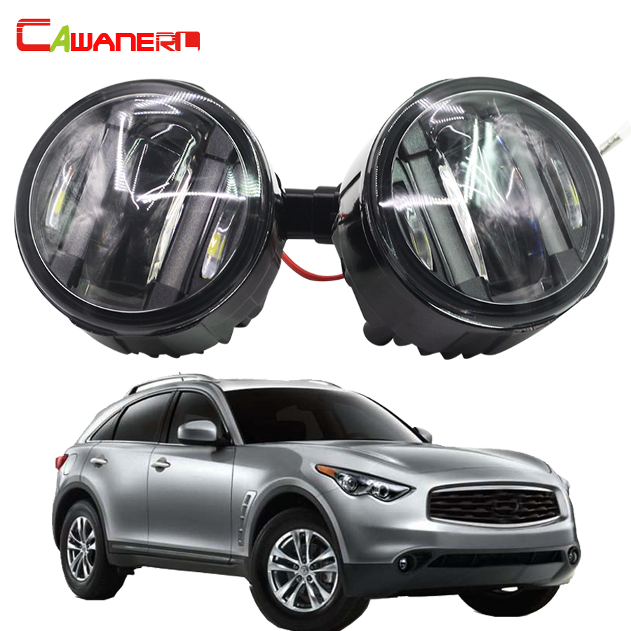 Cawanerl For Infiniti FX35 3.5L V6 2006-2012 LED Daytime Running Lamp DRL Left + Right Fog Light 12V Car Styling 2 Pieces cawanerl 2 pieces car styling led fog light daytime running lamp drl 12v for infiniti g37 sport 3 7l v6 gas 2011 2012 2013
