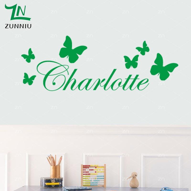 B9 Kupu-kupu Personalized Kustom Nama Vinyl Wall Sticker Kupu-kupu Di - Dekorasi rumah - Foto 3