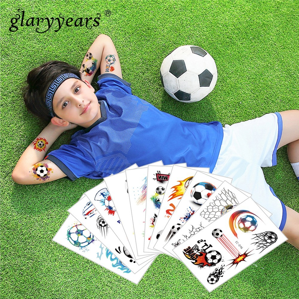Glaryyears 1 Pc Hot Football Kids Temporary Tattoo Sticker Colorful Fake Tatoo Flash Tatto Waterproof Small Body Art For Child