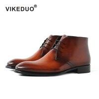 Viekduo 2018 Handmade Military Boot Brand vintage Luxury Heel Ankle Casual Brown snow winter dress Genuine leather Fur men boot