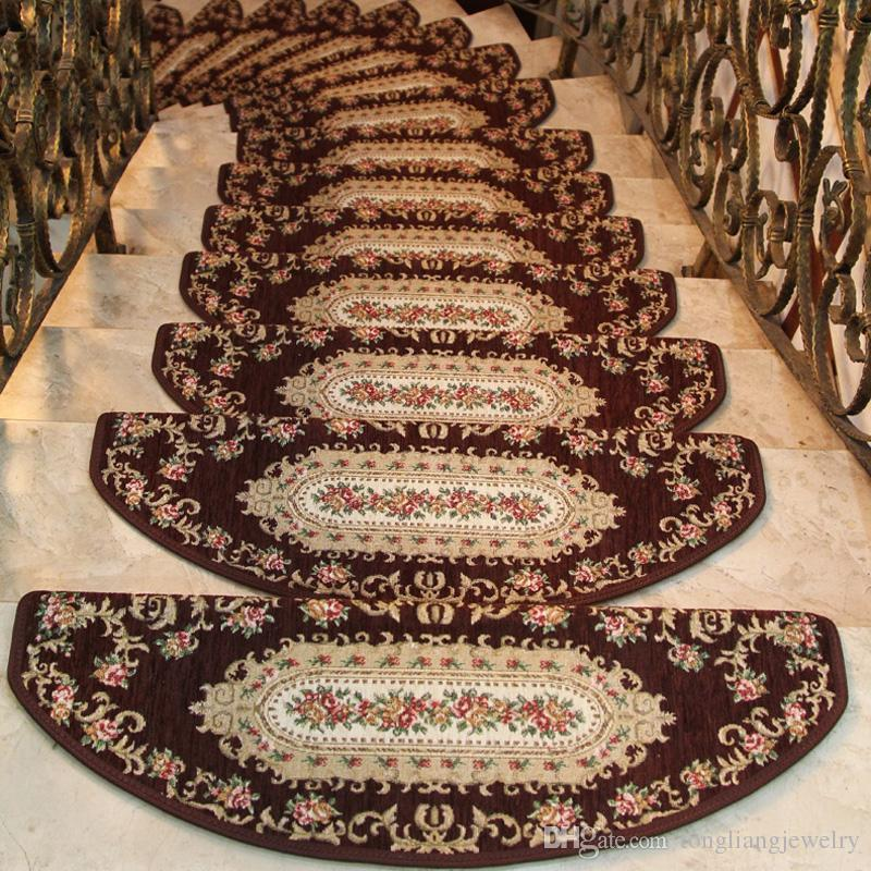 High Quality Stair Carpet Treads Sets Non Skid Floral Stair Carpet Mats  Thicken Luxury Wood Stairs Carpet Decor For Hotel Home
