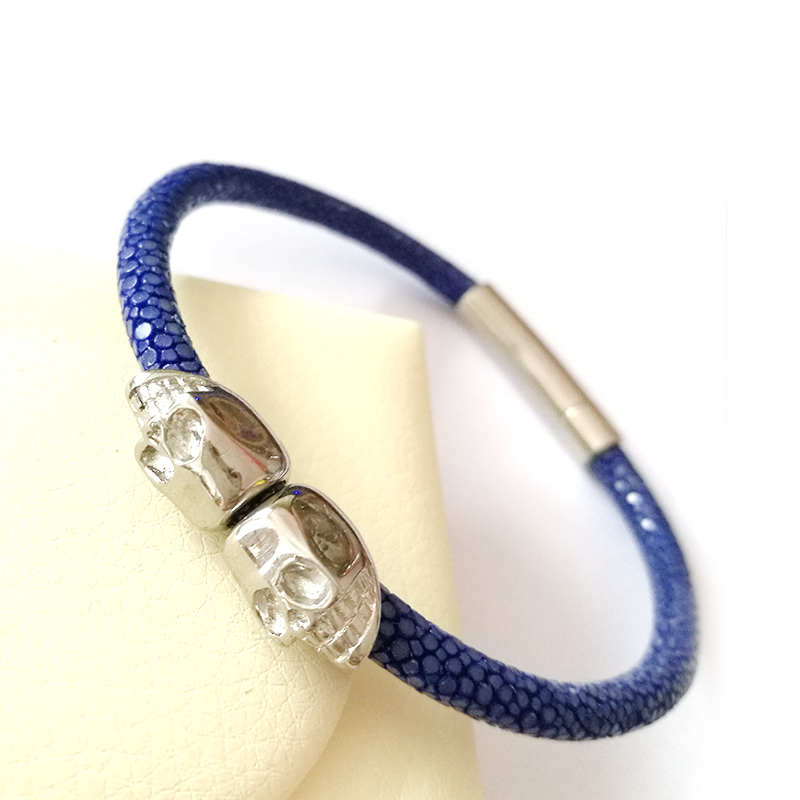 (10pcs)Fashion Black Stainless Steel Twin Northskul Man Women Genuine Blue Leather Stingray Bracelet Jewelry Gift Fit Watch