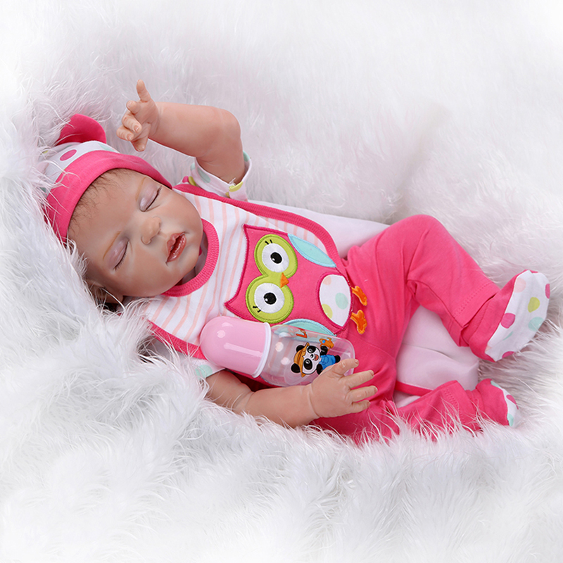 55cm Full Body Silicone Reborn Baby Sleeping Girl Doll Toy Newborn Babies Alive Bebe Bathe Toy Girls Bonecas Kid Gift Present 55cm silicone reborn baby doll toy lifelike npkcollection baby reborn doll newborn boys babies doll high end gift for girl kid