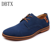 Brand Men Casual Shoes Suede Leather Shoes Blue Black Spring Men Flats Lace Up Male Oxfords