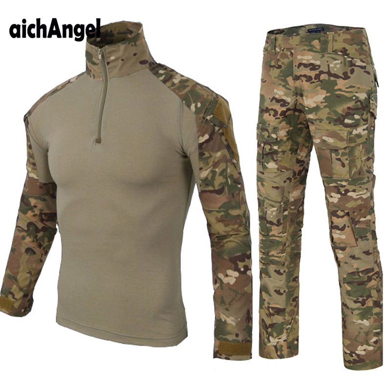 fe21d368fbb9d Armee Militär Uniform Camouflage Taktische Kampf Anzug Airsoft Krieg Spiel  Kleidung Hemd + Hosen Knie Ellenbogen Pads Jagd Set ~ Premium Deal July 2019