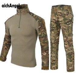 Militaire Uniform Camouflage Tactische Combat Pak Airsoft War Game Kleding Shirt + Broek Elleboog Knie Pads Jacht Set