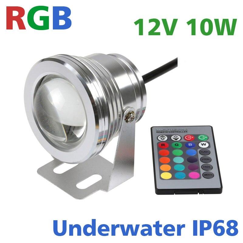 IP68 10W font b LED b font RGB Underwater Light Fountain Pond Outdoor font b Spotlight
