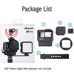 Image 4 - ULANZI V2 Pro GoPro vlog boîtier boîtier Cage cadre w Microphone froid chaussure support + 52mm ND filtre anneau adaptateur pour GoPro 7/6/5