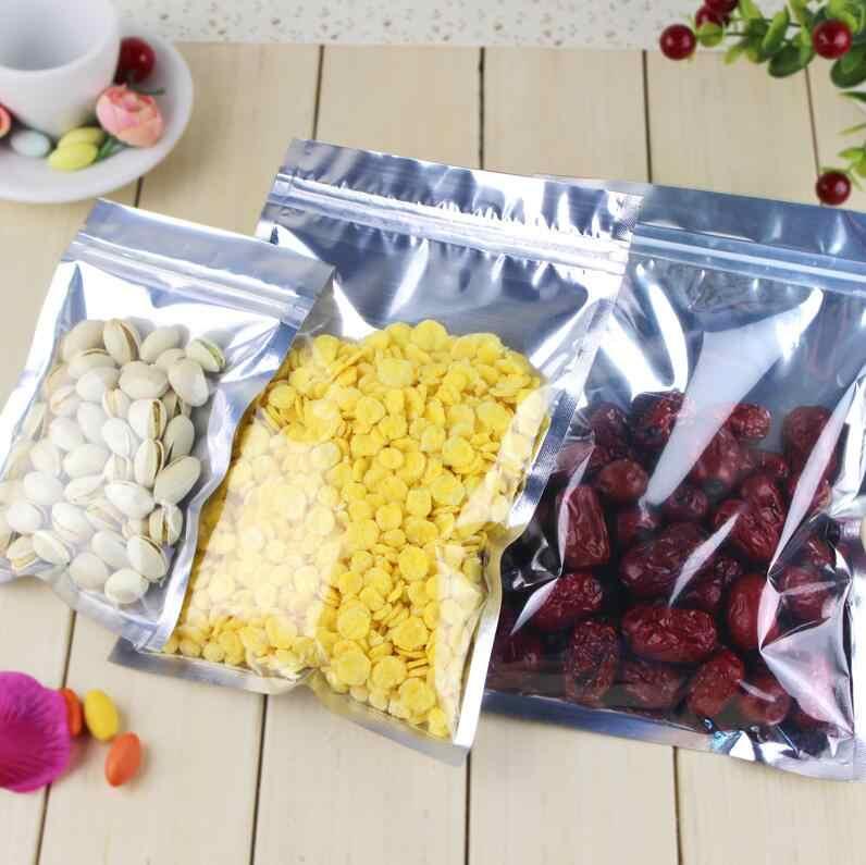 100ชิ้นล้างถุงฟอยล์อลูมิเนียมซีลตนเองซิปZiplockถุงบรรจุอาหารค้าปลีกผนึกเบเกอรี่บรรจุBagกระเป๋า