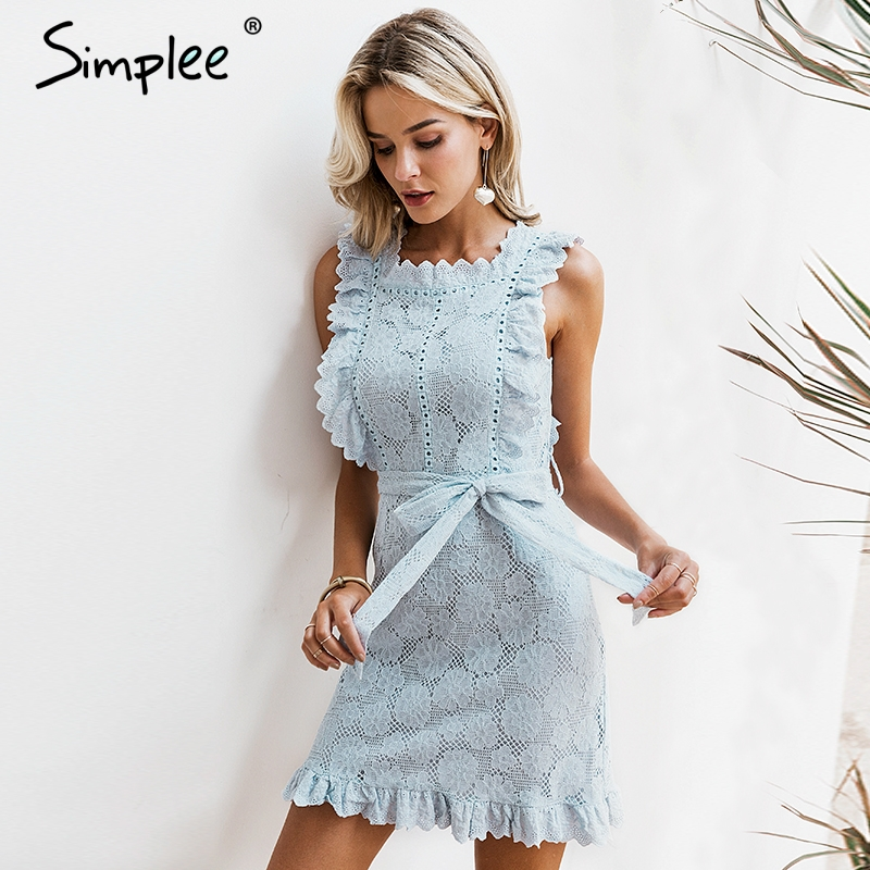 98c1458167 Simplee Elegant embroidery lace women dress Hollow out sashes ruffle white  summer dress Slim sexy party lady dress vestidos 2019 ~ Hot Deal June 2019
