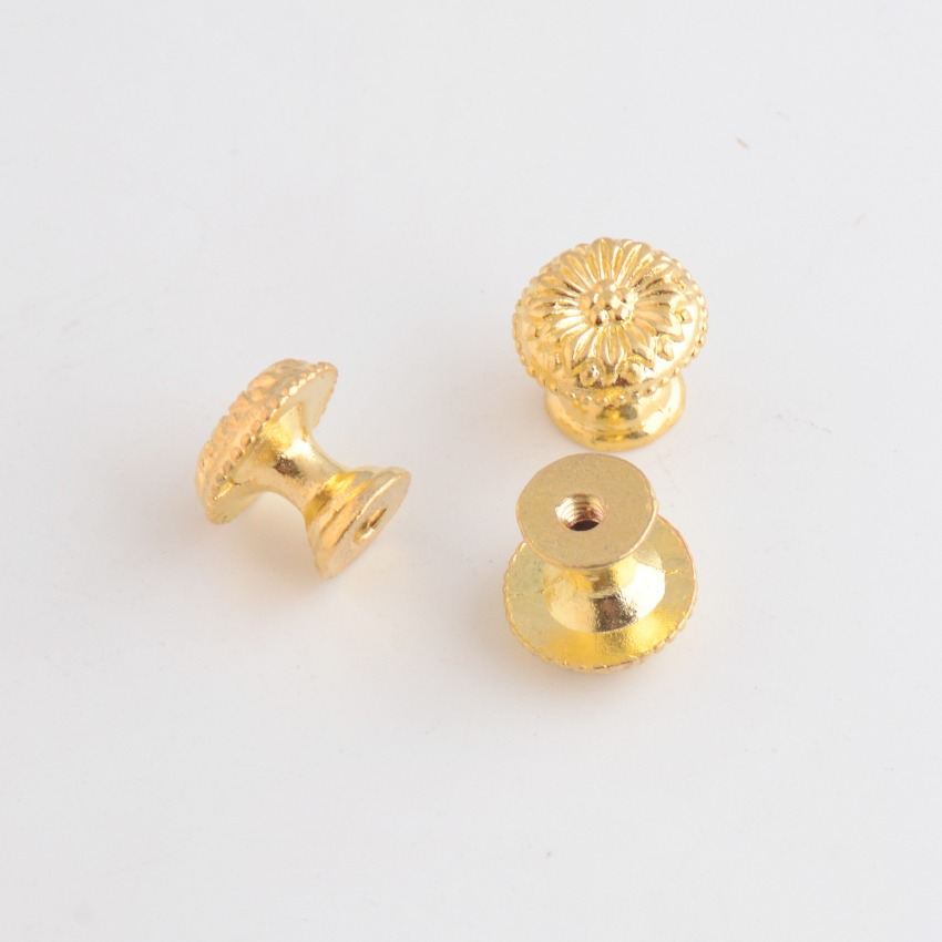 Free Shipping 4PCs Golden Jewelry Wooden Box Pull Handle Dresser Drawer For Cabinet Door Round 17x15mm F1093
