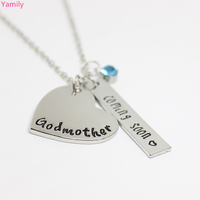 Yamily 10pcslot godmother heart necklace coming soon charm with yamily 10pcslot godmother heart necklace coming soon charm with crytal pendant necklace jewelry gift aloadofball Gallery