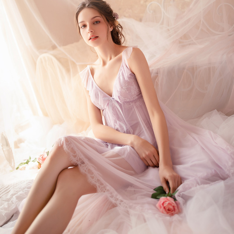 Image 4 - Fairy Retro Palace Wind Sweet Princess Nightwear Spring and Summer Nightdress Lace V collar Housewear Nightgowns SleepshirtsNightgowns & Sleepshirts   -