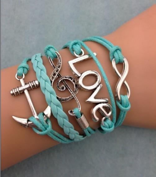 3pcs infinity bracelet,handmade bracelet,love and anchor charm bracelet,music symbol charm bracelet,gift 3077
