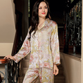 YIER Brand Autumn Women's 100% Silk Sleepwear Long Sleeve 2 Piece Sets Silk Pajama Women Pijama Lady Pajamas Loungewear Clothes