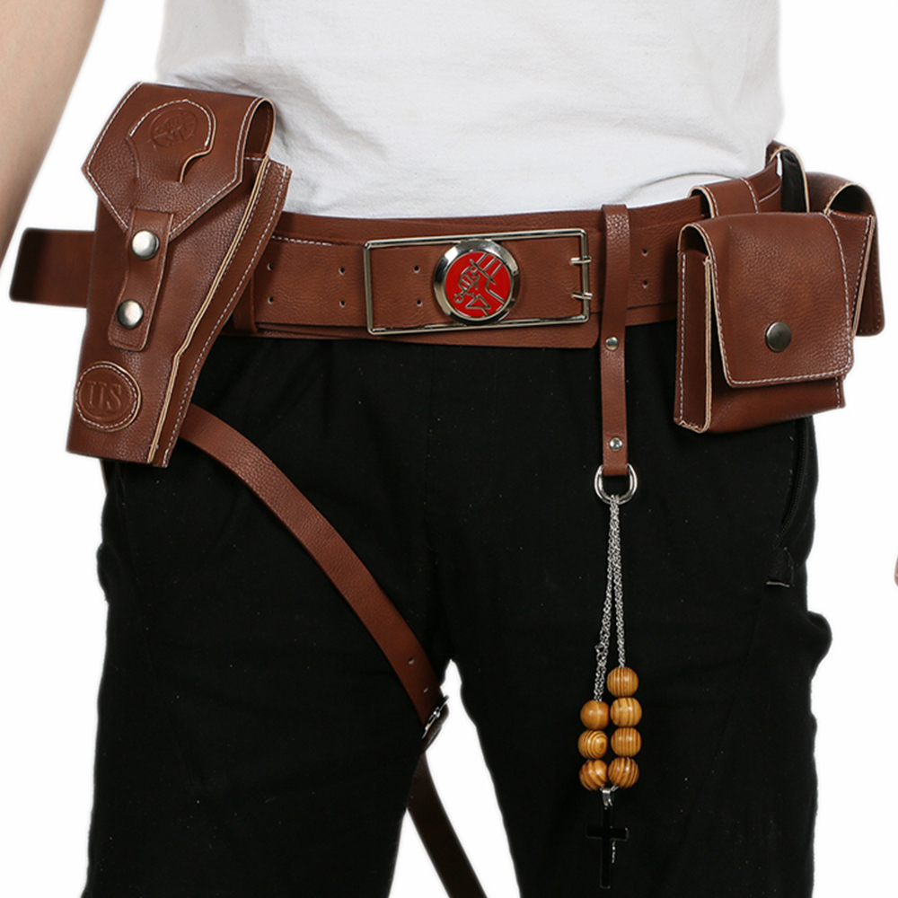 Hellboy Belt With Gun Holster Costume Accessories Movie Cosplay Props Faux Leather Waist Bands Halloween Party PU Belts Hot Sale