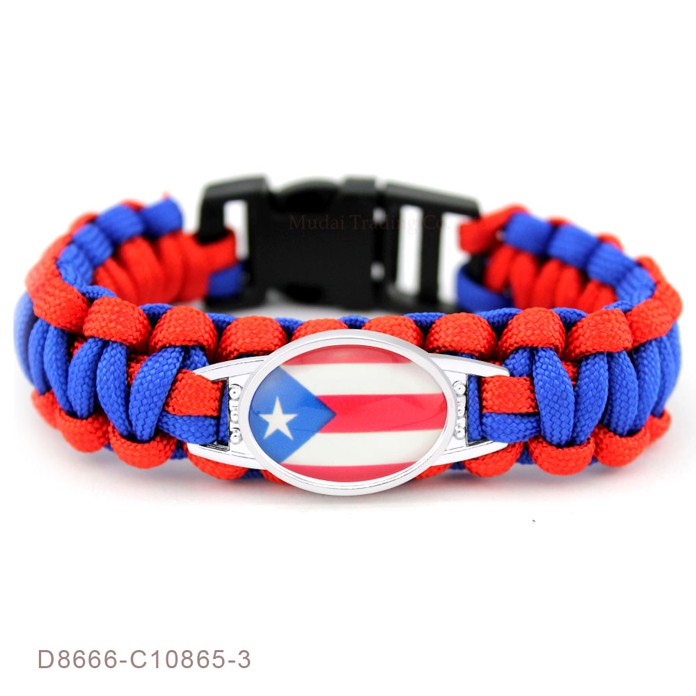 (10 PCS/lot) Flag of Puerto Rico Paracord Survival Outdoor Camping Bracelets for Women Men Friendship Rope Red Bracelet Jewelry