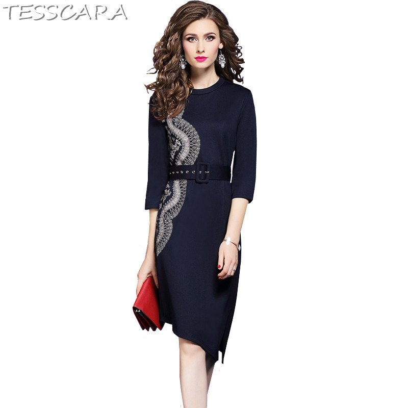 TESSCARA Women Spring Autumn Elegant Embroidery Office Dress Female High Quality Robe Femme Designer Asymmetrical Party