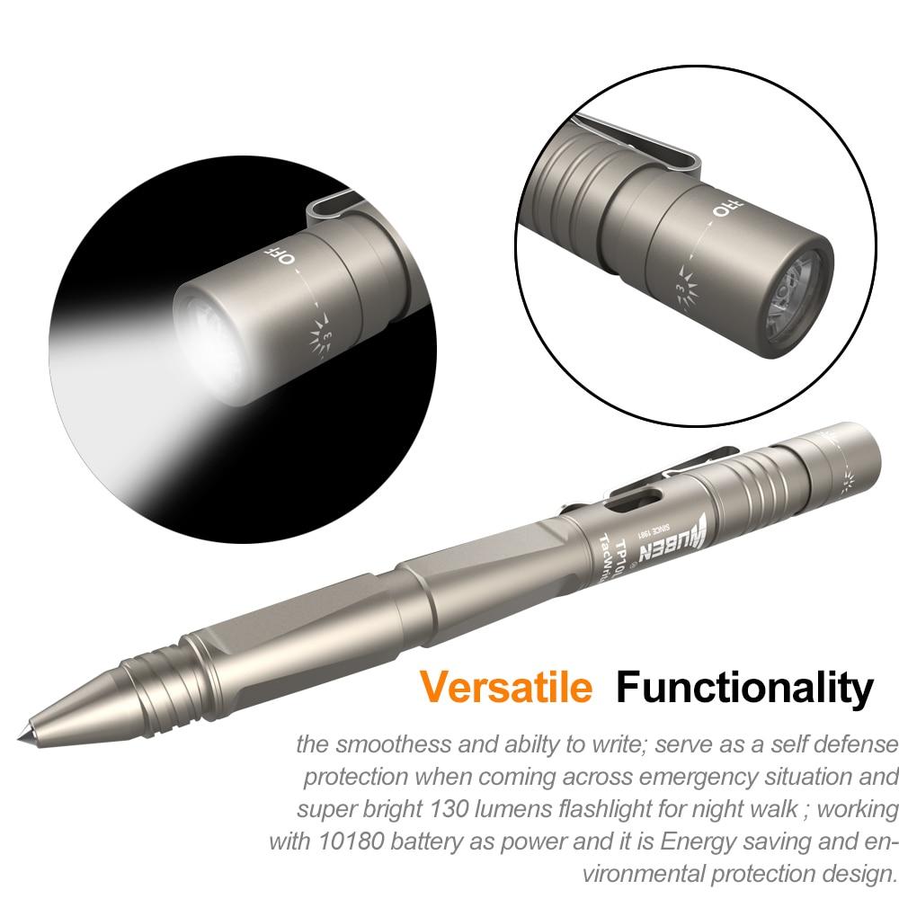 WUBEN TP10L-LG Lampă Pen Lampă portabilă cu LED-uri Multifuncțională Lanternă tactică USB Reîncărcabilă CREE Campanie de autoapărare