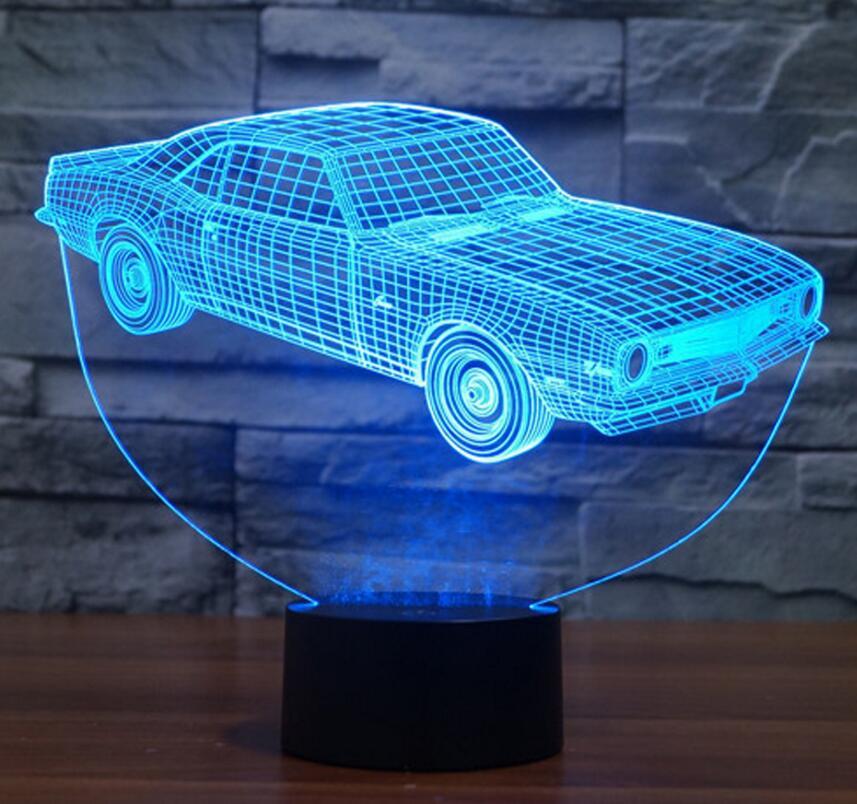 Крутой автомобиль Форма 3D иллюзия Светодиодные ночники красочный акриловой настольная лампа для вечеринки Рождественский Подарок детская...