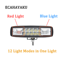 ECAHAYAKU 1x 48W 6 inch LED Work Light warning light red blue lamp Car styling Offroad Driving Auto for SUV 4WD ATV Truck