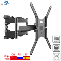 Full Motion TV Wall Mount 6 Arms Retractable Swivel Tilt TV Bracket Rack for 32 60 MAX VESA 400x400mm LCD Bracket Wall Stand
