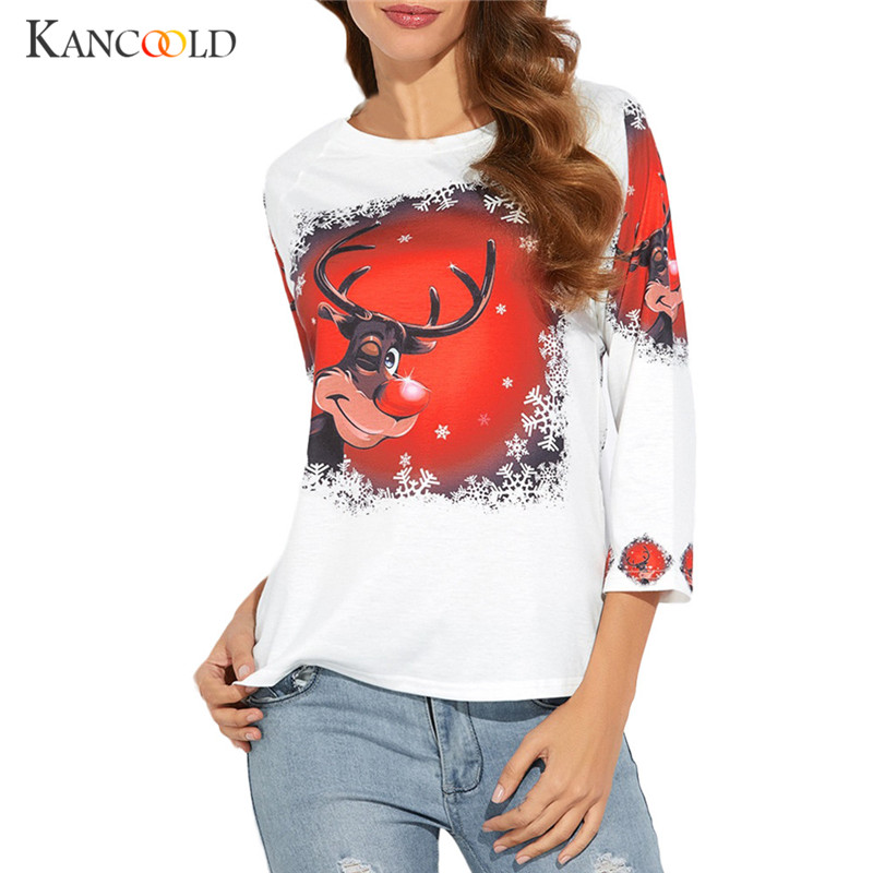 Women Christmas Print Long Sleeve Blouse T Shirt Pullover Jumper Tops Sweatshirt