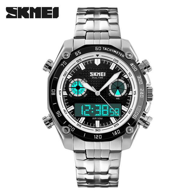 370abea68 SKMEI Fashion Sport Men Watch luxury brand analog digital dual display  stainless steel strap waterproof military quartz watch