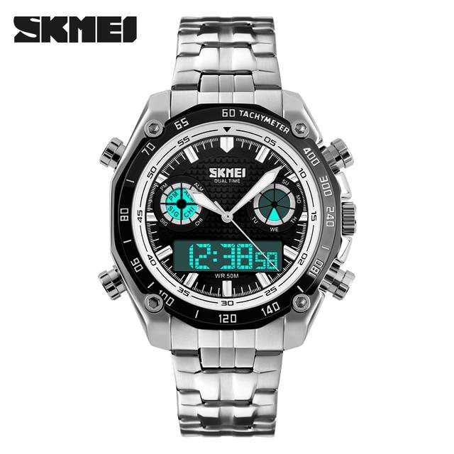 dd85164c1a SKMEI Fashion Sport Men Watch luxury brand analog digital dual display stainless  steel strap waterproof military quartz watch