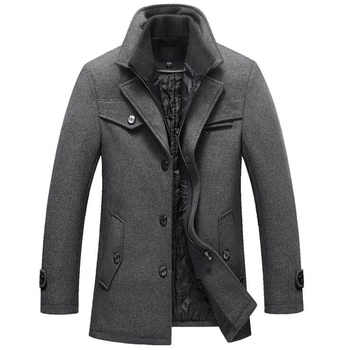 New Winter Wool Coat Slim Fit Jackets Mens Casual Warm Outerwear Jacket and coat Men Pea Coat Size M-4XL DROP SHIPPING