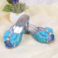 Girls High Heels Slippers Rhinestone Princess Party Sandals Toddler Kids Wedding Shoes Gladiator Sandals Pink Silver