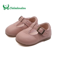 Claladoudou11.5 13.5CM 2019 Spring Genuine Leather Baby First Walkers Red Black Beige Pink Pure Strap Princess Girls Dress Shoe
