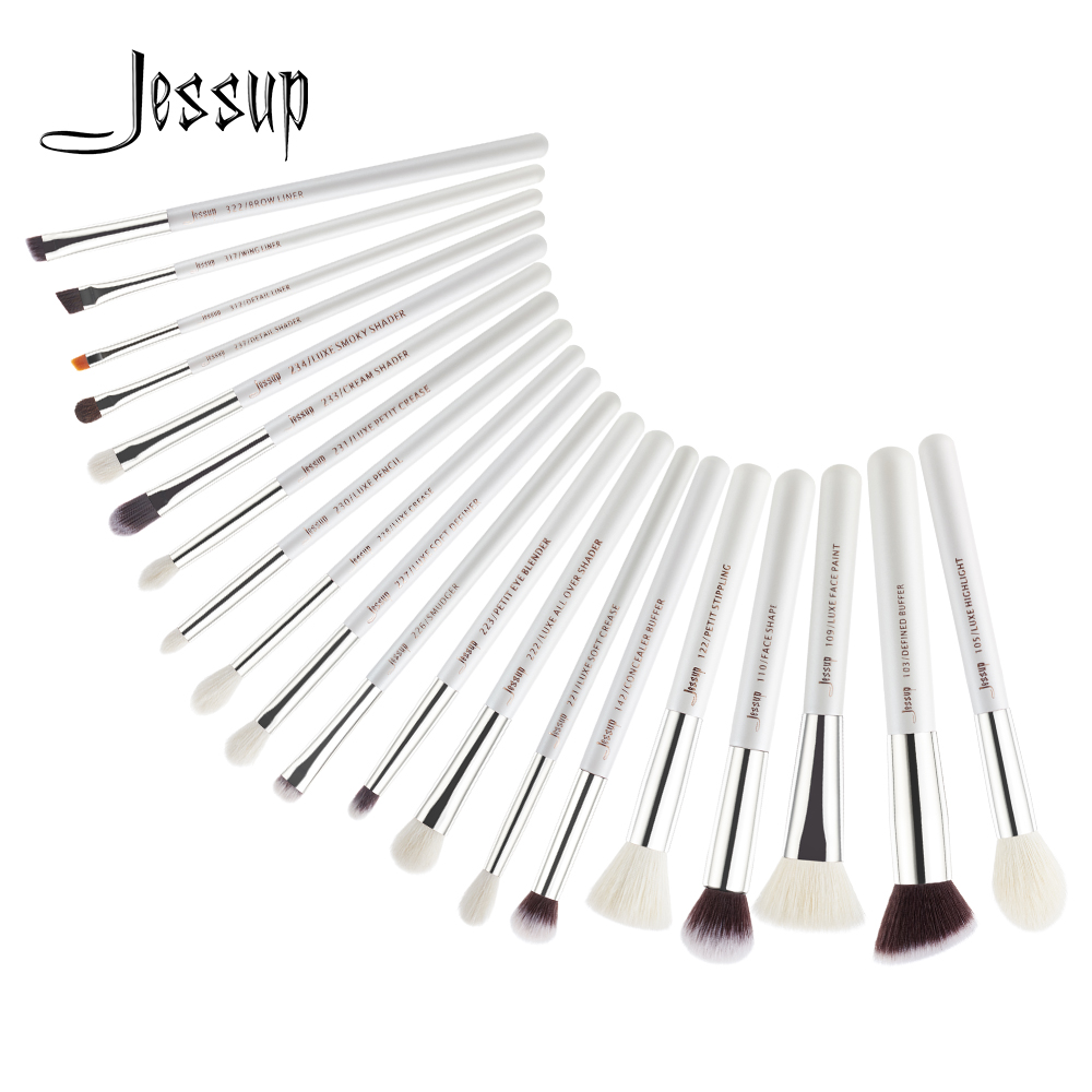 Furça Jessup 20 copë Brushes Makeup Bardhë / Argjend Profesional Eyeshadow Foundation Blending Powder Pencil Makeup Brush Set T245