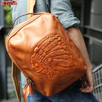 b51c3569e909 BJYL для мужчин рюкзаки Оригинальный индийский головы слои коровьей ручной  работы Винтаж Рюкзак пояса из натуральной кожи 14 дюймов ноутбук