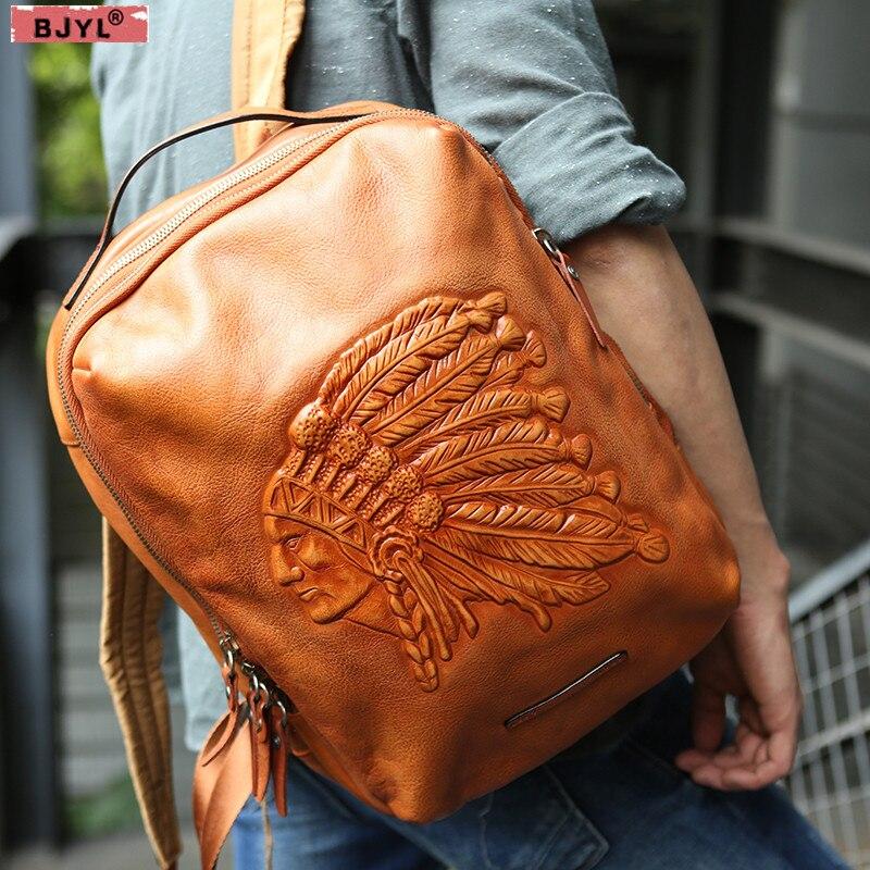 BJYL Men backpacks Original Indian head layer cowhide handmade vintage backpack genuine leather 14 inch laptop shoulder bags
