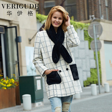Veri Gude Long Woolen Coats Plaid Pattern Overcoat for Women Scarf Included Plaid Shirt Double Breasted Warm Coat For Autumn