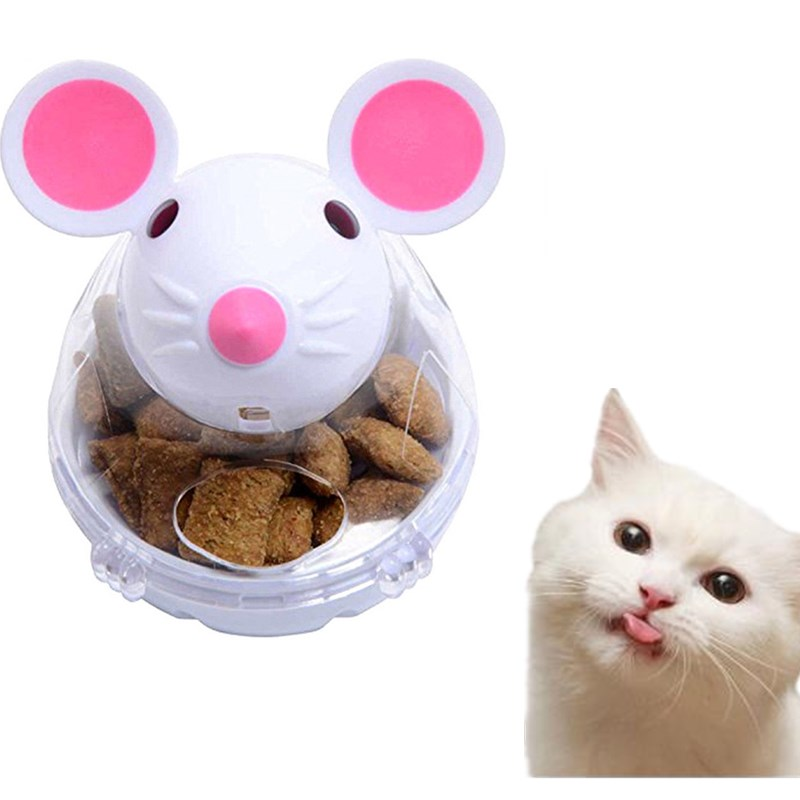 1 Pcs Mouse Tumbler Pet IQ Food Ball Toy Dog Cat Interactive Ball Treat Dispenser Pet Play Training Food Leaker Puzzle Ball Toy