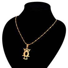 Personalized Owl Necklace Gold Bead Chain Stainless Steel Pendant For Women/Men Birthday Gift(China)
