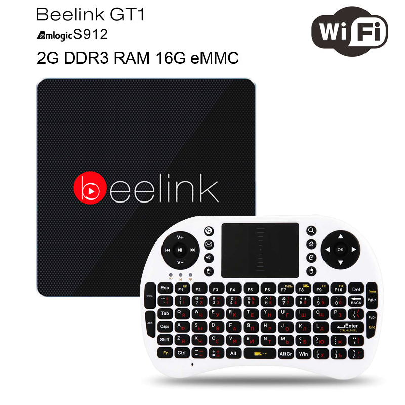 цены Beelink GT1 Android 6.0 TV Box 2GB RAM 16GB ROM Amlogic S912 Octa Core H.265 4K 2.4G/5.8G Dual WiFi Bluetooth 4.0 Media Player