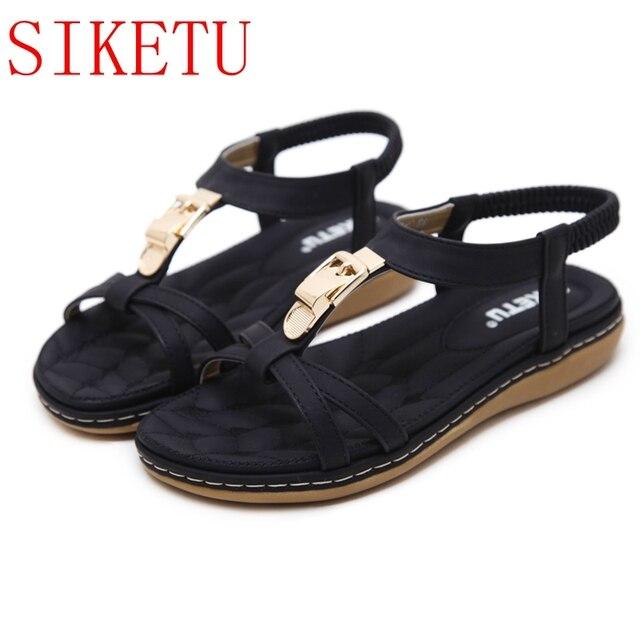 SIKETU New Women Wedge Sandals Shoes Woman Metal Decoration Flip Flop Beach  Sandals Plus Size 35-41 High Quality Black 26-22 f29a3ba3e814