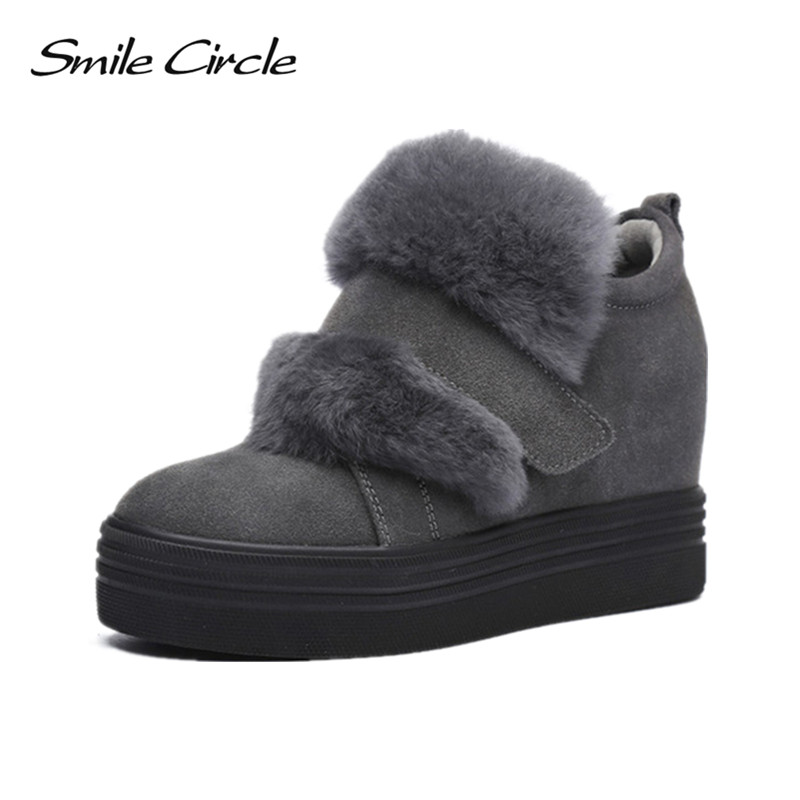 Smile Circle 2017 Winter Shoes For Women Genuine Leather Wedge Shoes Women Fur Elevator Shoes High heels casual platform shoes