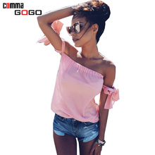 Off Shoulder T-shirt Women Top Tees Summer Lacing Up Sleeve Sexy Tshirt Backless Tops Female White Pink Black T-shirt Camis