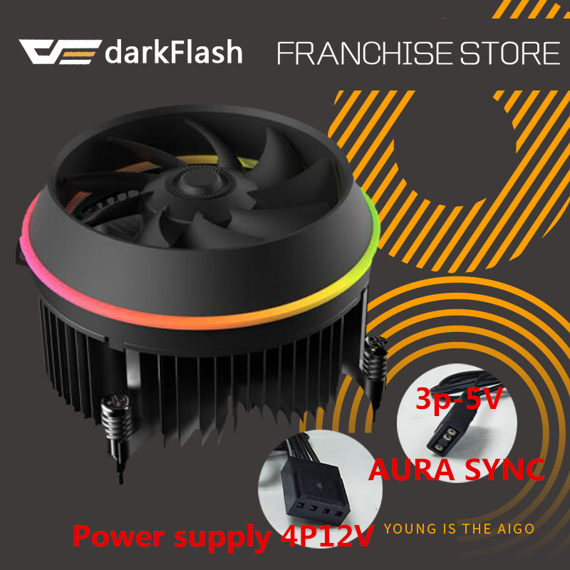 Darkflash sombra enfriador de CPU AURA SYNC 3 p-5 V TDP 280 W PWM 4pin doble anillo LED RGB radiador ventilador refrigerador para intel LGA 115x