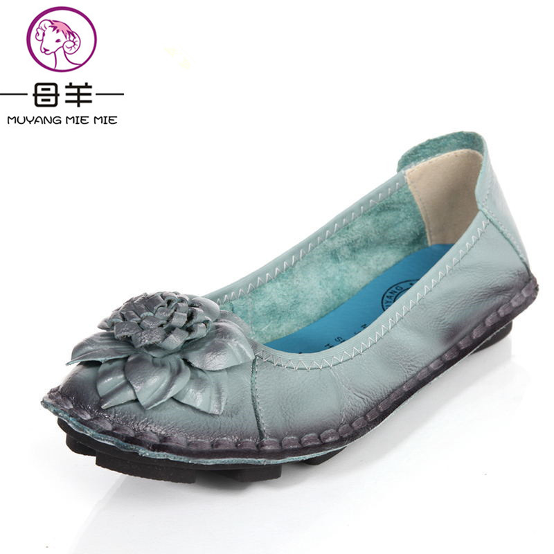 Women Genuine Leather Flat Shoes Woman Loafers 2017 New Fashion Women Shoes Casual Handmade Flower Women Flats