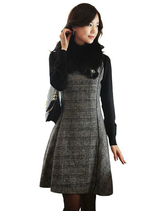 Aliexpress.com : Buy women big size v neck sleeveless woolen dress ...
