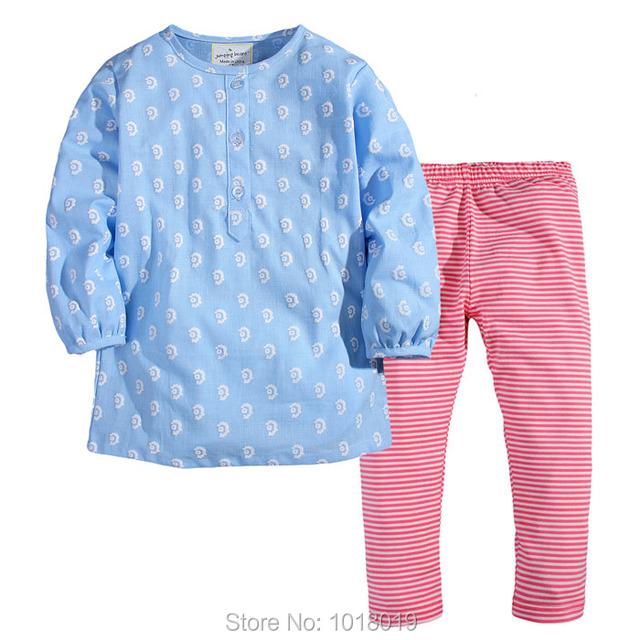 Calidad Camiseta y Legging 2 unid Establecidos, nuevo 2017 Marca 100% Algodón de los Bebés Ropa Set Niños de Manga Larga Bebé Ropa de la Muchacha Fijaron