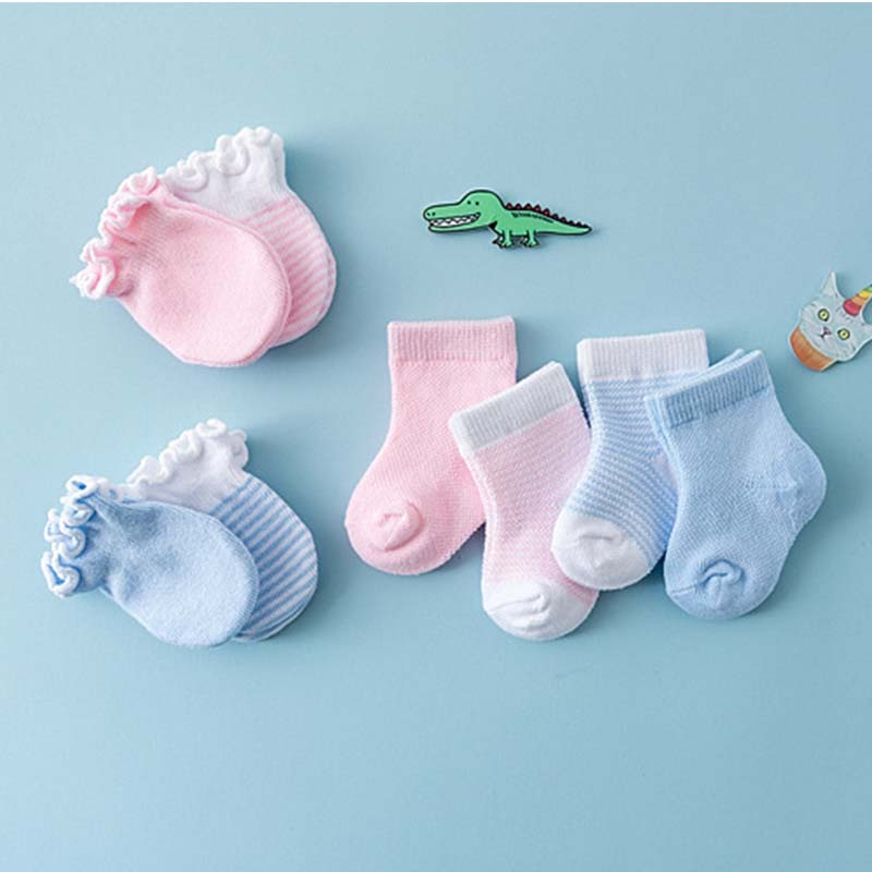 4Pairs Newborn Anti Scratch Cotton Soft Gloves+Warm Baby Socks Sets Solid Color Boys Girls Mittens Suits