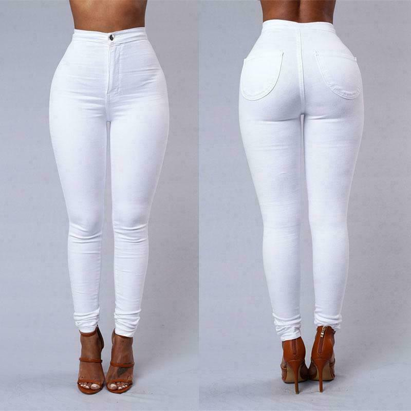 Women Stretch Pencil Pants High Jeggings Jeans Casual Slim Trousers Waist Skinny