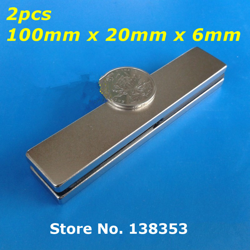 2pcs Bulk Super Strong Neodymium Rectangle Block Magnets 100mm x 20mm x 6mm N35 Rare Earth NdFeB Rectangular Cuboid Magnet hakkin 5pcs super strong neodymium magnet block cuboid rare earth magnets n35 20 x 10 x 2mm
